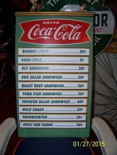 original kay coca cola menu board sign #cocacola
