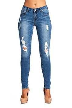 b42a14a3 BLUE AGE JP0076 Womens Destroyed Ripped Medium Wash Skinny Jeans * More  info could be found at the image url. (This is an affiliate link)  #womensjeans