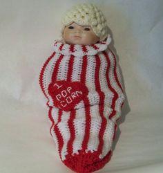 Crocheted Baby Photo prop Box of Popcorn I Heart by kleelong, $39.50