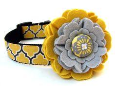 Dog Collar Flower Add-On Yellow and Grey Felt Dog Collar Flower