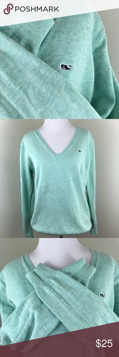 Vineyard Vines Mint Green Sweater Classic V Neck Vineyard Vines Sweater, great used condition. Perfect sweater for any season Vineyard Vines Sweaters V-Necks