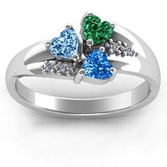 Heart Cluster Ring with Accents #jewlr