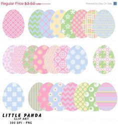 60 off  Easter Eggs Clip Art  Personal and by LittlePandaDigitals, $1.40