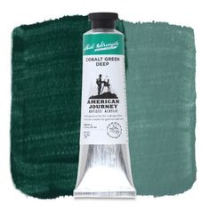 American Journey Artists' Acrylic, Cobalt Green Deep is a semi-opaque deep green color with strong blue undertones, ideal for painting evergreens in a landscape or creating deep shades in leaves and grass. Available in a 60 ml. tube. #ArtSupplies #AcrylicPainting #Acrylic
