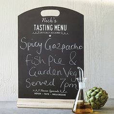 personalised chalkboard menu by delightful living | notonthehighstreet.com