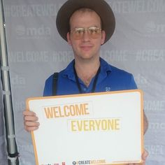 At the #createwelcome tent at #LabourDay.  if you're there drop by and help #createwelcome