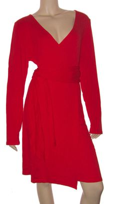 VICTORIA'S SECRET LONG SLEEVE DEEP V NECK FAUX WRAP DRESS FLAME RED X-LARGE NEW #ModaInternational #WrapDress