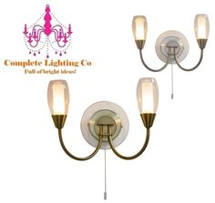 Wall light: Height 15cm. Width 25cm. Depth 15cm. 2 X 40w G9 light bulb. Clear outer frosted inner glass. Satin chrome or antique brass.