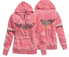 Harley-Davidson® Pullover Hooded Jacket, Passion, Drive, Freedom Pullover Activewear, Calypso Coral