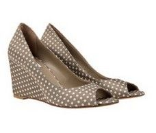 Cannes wedge heels Beige with white spots
