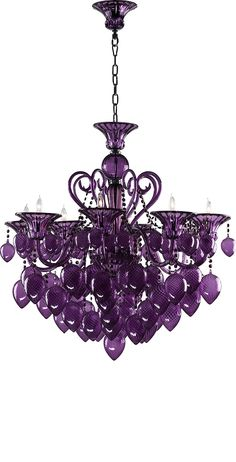 Grand Purple Glass Chandelier Need this for our bedroom!!
