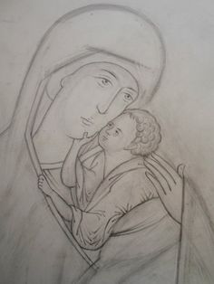 The tracing. The best books about the technology of the icon-painting… Orthodox Icons, Painting Process, Line Drawing, Pencil Drawings, Light In The Dark, Outline, Good Books, Creations, Sketches
