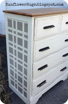 SunflowerHugs: Cream Dresser With Fun Plaid Pattern on the sides.