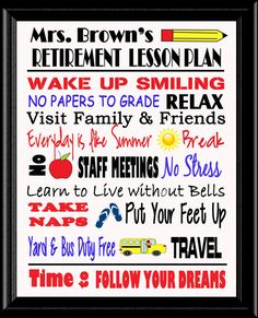 Teacher Retirement Subway Art on Etsy, $6.95