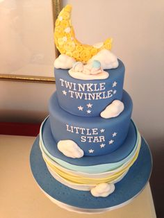 Twinkle twinkle Little Star Baby Shower Cake, by Amy Hart