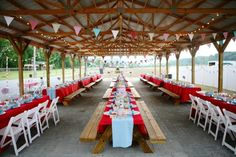 Great dressing up of a picnic shelter! What a lovely patriotic tablescape. Come check out our red, white, and blue linens! And our white resin chairs