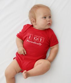 I CrY Periodically | Fun geeky baby onesie from Periodically Inspired