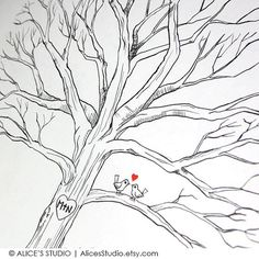 """This is a fantastic alternative to traditional guest book. It is an interactive and a beautiful UNIQUE and ORIGINAL COLLABORATIVE ART for you to cherish for years to come! This artwork features a wedding/ family tree with lovebirds, drawn with archival, fade-resistant ink and water-color by an experienced artist and designer Alice L. on a high-quality artist paper. Guests """"leaf"""" their thumbprint and sign on it and create a brilliant tree together!"""