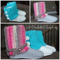 Crochet Pattern: Kid's Slouchy Slipper Boots by A Crocheted Simplicity  #crochet #crochetslipperboots #acrochetedsimplicity