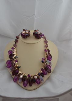 Vintage Costume Jewelry by Vendome Parure Purple Set Earrings