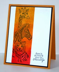 I Brake For Stamps: Giraffe, Zebra, Tiger Trio image. Zoo-Safari card.