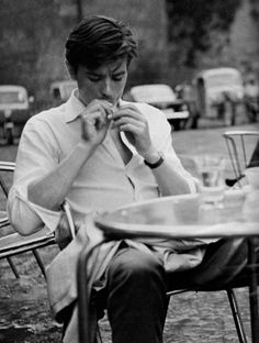 Alain Delon (aka life ruiner) on the set of Purple Noon/ Plein Soleil (1960, dir. René Clément), the first film adaptation of Patricia Highsmith's The Talented Mr. Ripley
