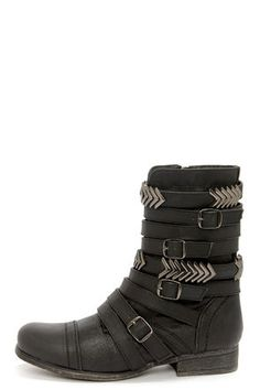 Madden Girl Georgie Black Belted Mid-Calf Boots