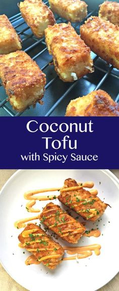 Coconut Tofu with Spicy Sauce Recipe (Vegetarian, Healthy). Coconut tofu with a spicy Sriracha Ginger sauce make a healthy and unique vegetarian meal. The sauce has only 3 ingredients so it's quick and easy! Click through for the full recipe. Veggie Recipes, Asian Recipes, Whole Food Recipes, Vegetarian Recipes, Cooking Recipes, Healthy Recipes, Recipes With Firm Tofu, Recipes Dinner, Tufu Recipes