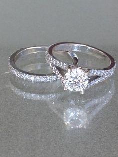 Ladies 14K White Gold VVS1 Round Diamond Wedding Band Engagement Bridal Ring Set #aonedesign #EngagementWeddingAnniversaryPromise