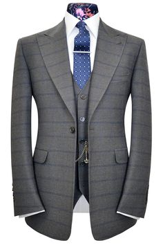 Elephant grey three piece peak lapel suit with sky overcheck, Wm. Hunt, Savile Row.
