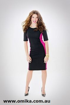 Rachel - a gorgeous day-to-night dress, with flattering hot pink panels to emphasise your hourglass figure!