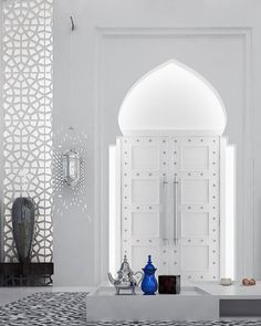 Captivating Moroccan Interior Design Ideas With Rectangle Shape White Table And Patterned Carpet Also Double Swing Metal Door Also Stainless Steel Handles And White Wall Paint Color As Well As Luxury Interior Design Plus Bathroom Interior Design of Dazzling Design Ideas Of Moroccan Interiors from Interior Ideas