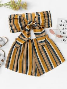 Shop Striped Bow Tie Front Crop Top With Shorts online. SHEIN offers Striped Bow Tie Front Crop Top With Shorts & more to fit your fashionable needs. Teen Fashion Outfits, Outfits For Teens, Plus Size Outfits, Girl Fashion, Girl Outfits, Teenager Outfits, Mens Fashion, Fashion Tips, Crop Top Dress