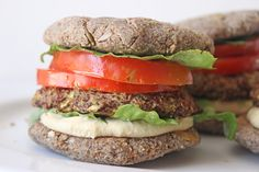 Zucchini, Pea and Quinoa Burgers in Homemade Buns (BUNS - so easy!  Used low setting on vitamix to avoid nut butter. Don't need more flax or water. Very easy to mold.)
