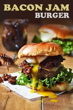 If you're looking for the best cheeseburger recipe in town, look no further than your own kitchen! My Bacon Jam Burger is the best cheeseburger I've ever had! The combination of sweet and salty bacon jam, melted Gruyere cheese, and ooey gooey egg drool a Grilling Recipes, Beef Recipes, Cooking Recipes, Sirloin Recipes, Kabob Recipes, Fondue Recipes, Gourmet Burgers, Beef Burgers, Beef Sliders