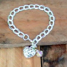 Double Link Silver Chain Bracelet with Woven Heart and Crystal Charms