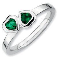 0.43ct Silver Stackable Emerald Double Heart Ring. Sizes 5-10 Jewelry Pot. $39.99. 100% Satisfaction Guarantee. Questions? Call 866-923-4446. All Genuine Diamonds, Gemstones, Materials, and Precious Metals. Fabulous Promotions and Discounts!. Your item will be shipped the same or next weekday!. 30 Day Money Back Guarantee. Save 57%!