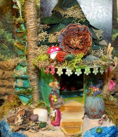 "Fairy House ""Tiki Tower Lounge"" Summer Beach Miniature House by WoodlandFairyVillage, $32.99"
