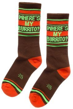 WHERE'S MY BURRITO? GYM SOCKS - Is there ever a time of day where a burrito doesn't sound like a good idea? We think not! Demand your burrito's whereabouts with these athletic style gym socks. Athletic Style, Athletic Fashion, Sourpuss Clothing, Burritos, Fashion History, Style Me, Socks, Gym, Unisex