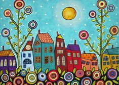 Purchase framed prints from Karla Gerard. All Karla Gerard framed prints are ready to ship within 3 - 4 business days and include a money-back guarantee. Moon Painting, House Painting, Karla Gerard, Art Fantaisiste, Fun Art, Framed Prints, Art Prints, Canvas Prints, Big Canvas