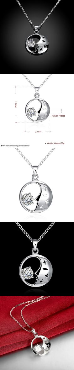 P316 2017 floating float mum face high quatlity fashion Moon star Pendant silver finechain cupper chain Necklace jewelry