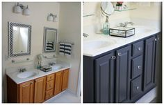 oak bathroom cabinets painted black or dark gray with white countertops Via Two Delighted – love some of the shots on her site!