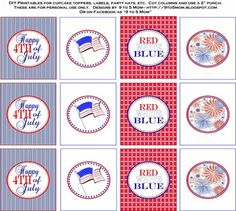 """Celebrate July 4th - Free Printables -  invitations, party circles, tented cards, drink straw flags, favor tags, sparkler holders with directions, matchbox covers, """"Let Freedom Ring"""" banner."""