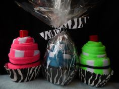 Neon and Zebra Print SockCake Party Favors for Spa Parties, Bachelorette Parties, Sweet 16, Sleepovers, MADE TO ORDER via Etsy   apparel