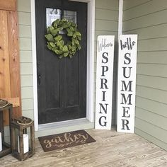 wood Door Signs Front Porches is part of Front porch decorating - Welcome to Office Furniture, in this moment I'm going to teach you about wood Door Signs Front Porches Front Porch Signs, Front Door Decor, Front Stoop, Fromt Porch Decor, Fromt Porch Ideas, Front Doors, Modern Farmhouse Decor, Farmhouse Signs, Vintage Farmhouse