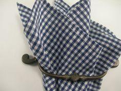 Ginham pocket square Navy Blue and white by LeBoutonVert on Etsy, $11.75