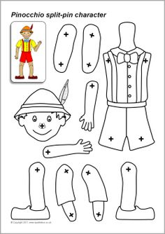 A set of printable body parts which can be assembled into a Pinocchio puppet using split-pins.