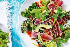 This salad is a work of art on a plate with delicately seared tuna, avocado and fresh salad leaves.