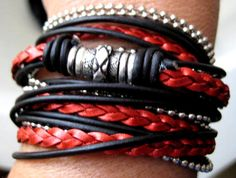"""Boho Chic Pearlized Red and Black Leather and Chain Wrap Bracelet with Silver Accents... Magnetic Clasp ...""""FREE SHIPPING""""  by LeatherDiva, $41.00"""