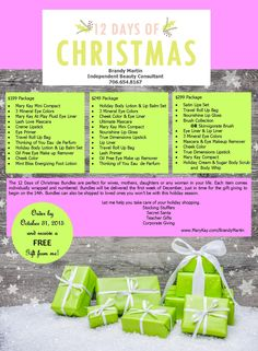 12 Days of Christmas.  Let me help you create an amazing gift that stretches over the 12 days of Christmas and lasts well into the new year! Giftwrapping, Delivery or shipping included.  | Mary Kay | Go Give | Merry Christmas |